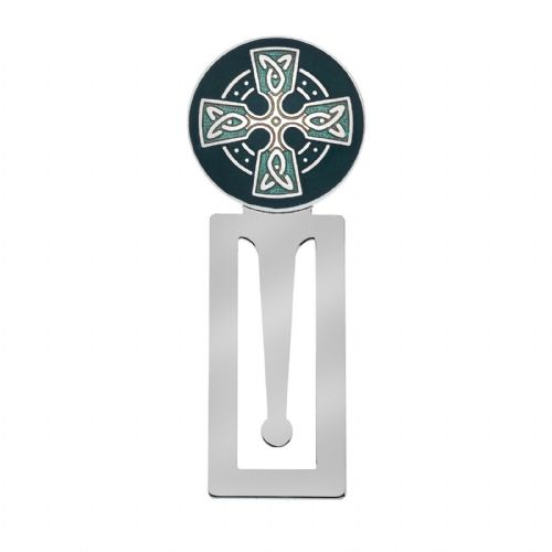 Bookmark Celtic Cross Silver Plated Green Enamel Brand New and Boxed